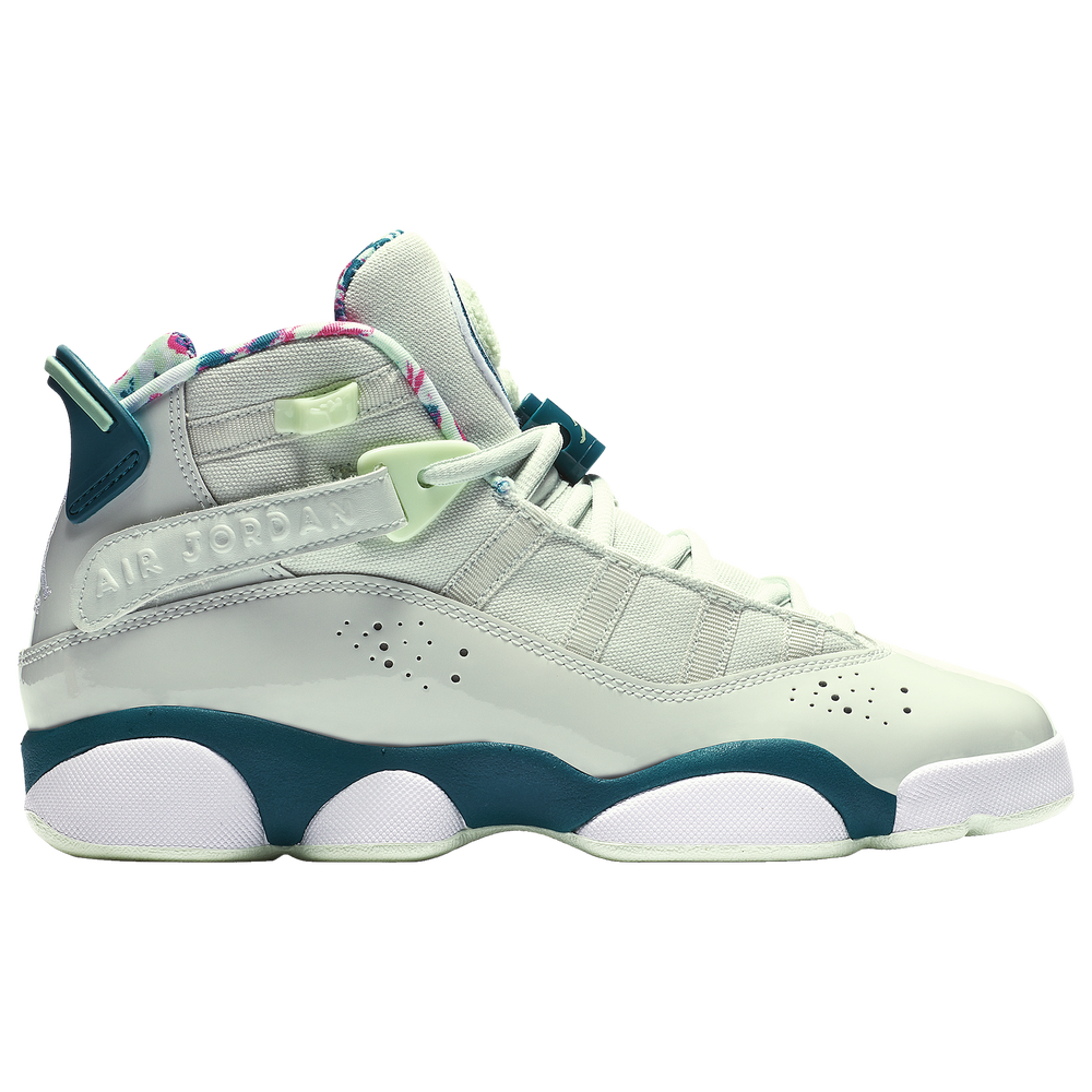 Jordan 6 Rings - Girls Grade School / Barley Grey/White/Green Abyss