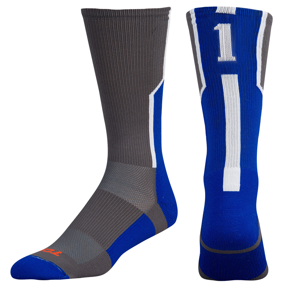 Twin City Player ID Custom Number Crew Socks - Mens / Graphite/Royal/White | #1 / Single Sock