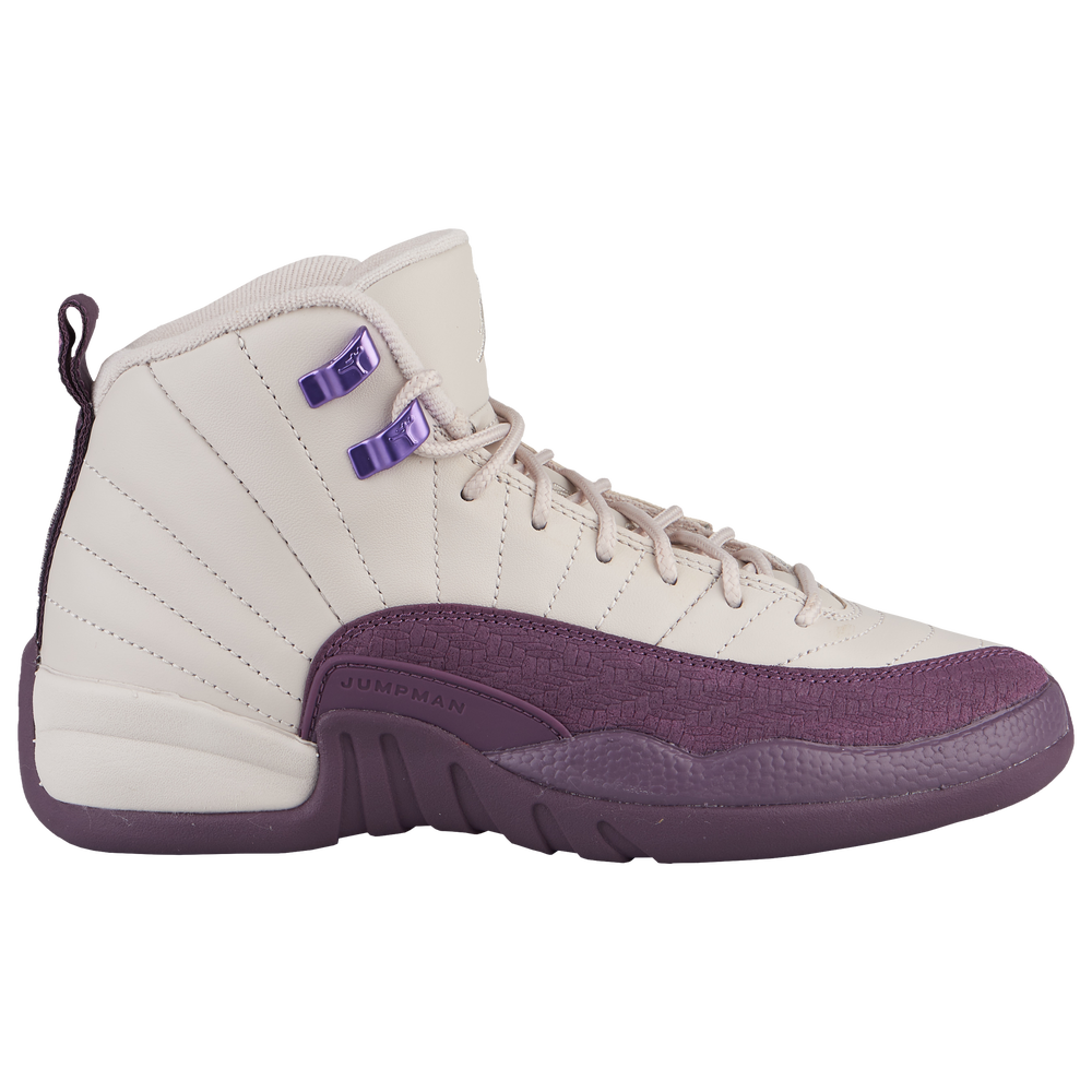 Jordan Retro 12 - Girls Grade School / Desert Sand/Desert Sand/Pro Purple
