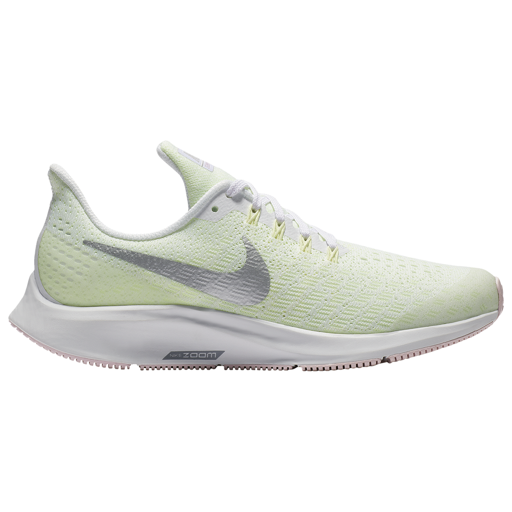 Nike Air Zoom Pegasus 35 - Girls Grade School / White/Met Silver/Barely Volt/Pink Foam