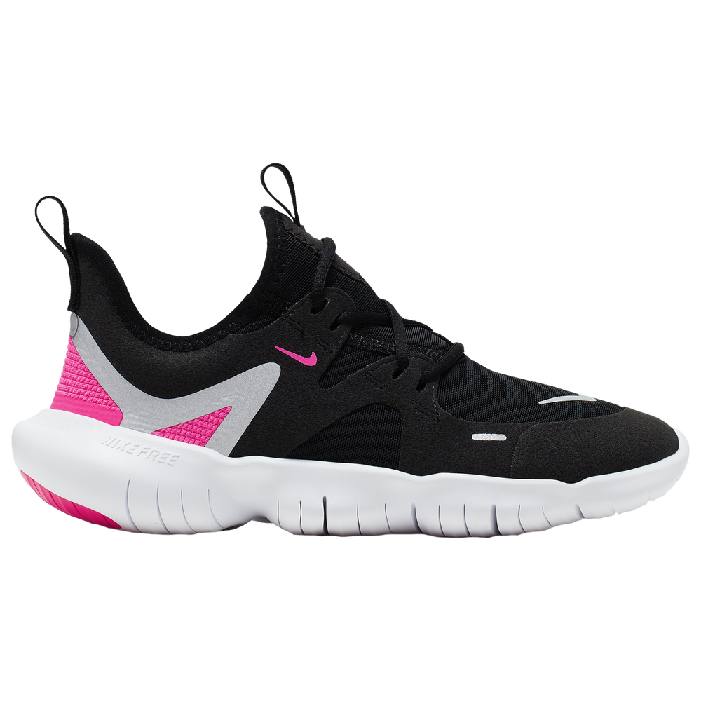 Nike Free Run 5.0 - Girls Grade School / Black/Met Silver/Hyper Pink/Anthracite