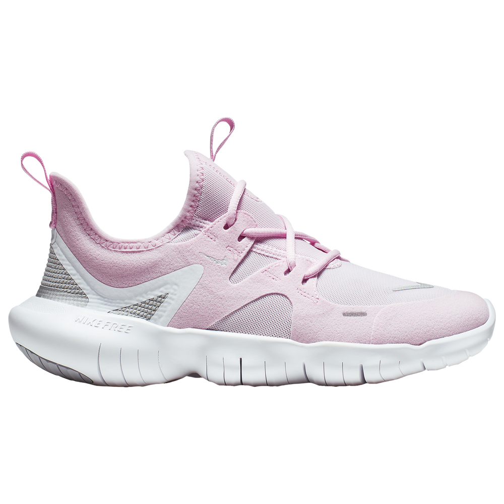 Nike Free Run 5.0 - Girls Grade School / Pink Foam/Met Silver/Wolf Grey