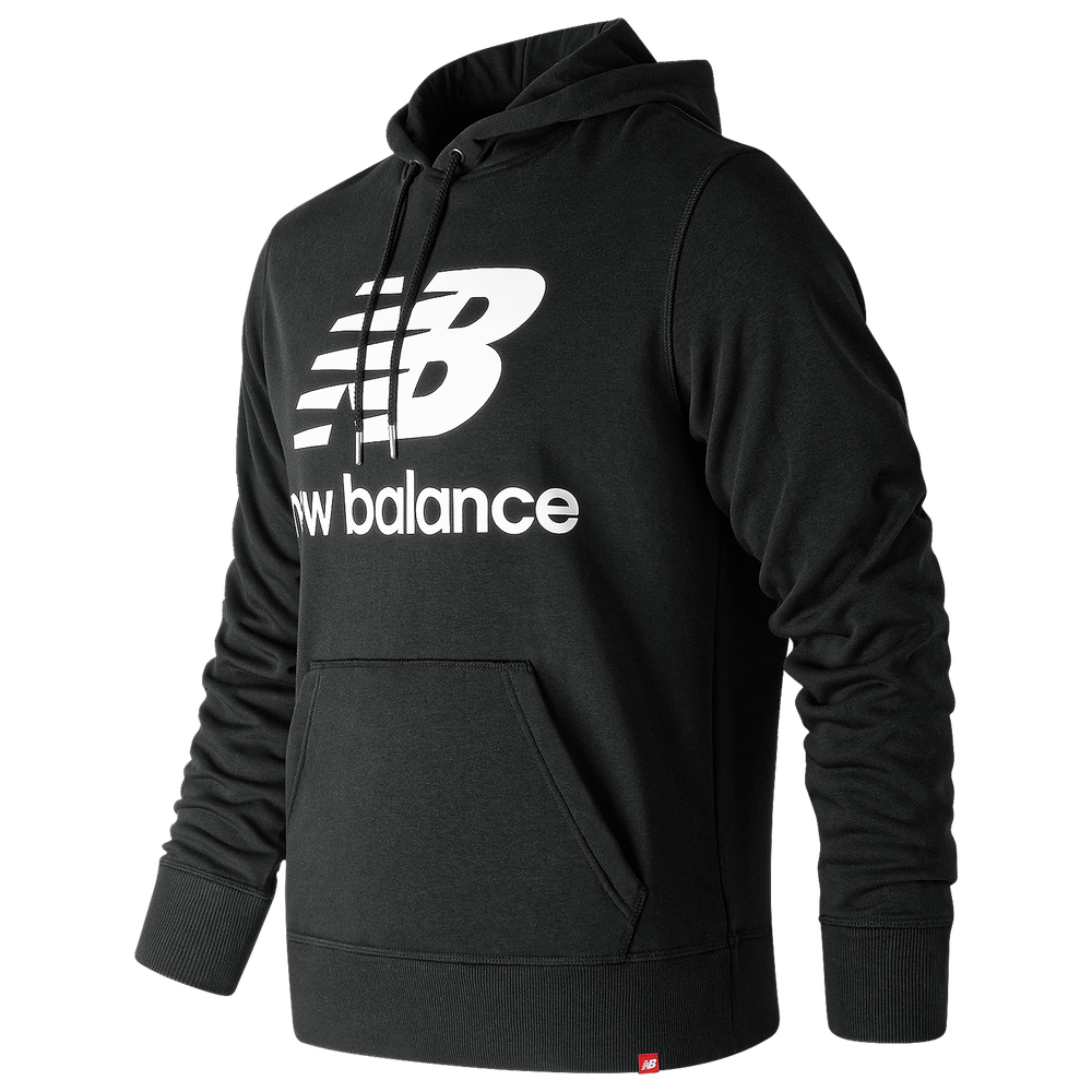 New Balance Essentials Stacked Logo Pullover Hoodie - Mens / Black