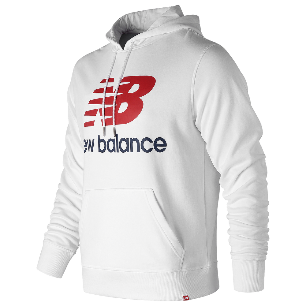 New Balance Essentials Stacked Logo Pullover Hoodie - Mens / White