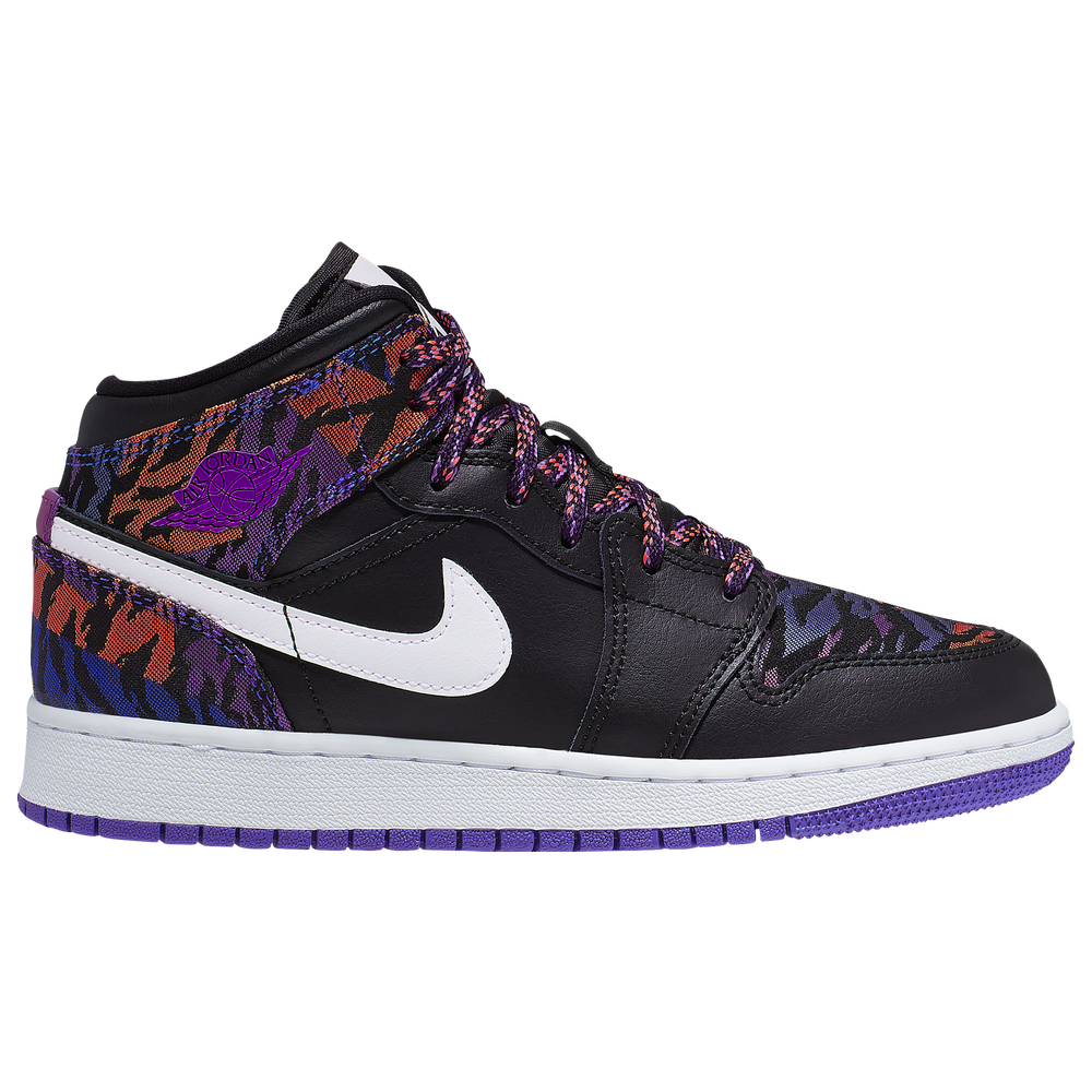 Jordan AJ 1 Mid - Girls Grade School / Black/White/Rush Violet