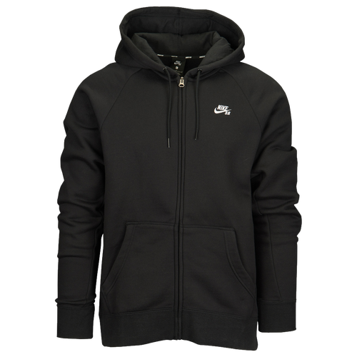 Nike SB Icon Full Zip Hoodie - Men's - Skate - Clothing - Black/White