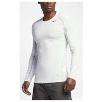 Nike Pro Cool Fitted L/S Top - Men's - White / Grey