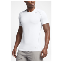 Nike Pro Cool Fitted S/S Top - Men's - White / Grey
