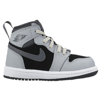 Jordan AJ 1 High - Girls' Toddler - Grey / Black