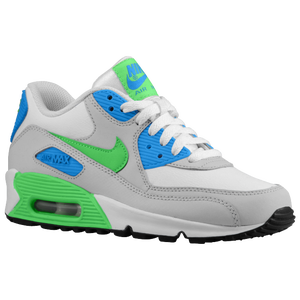 Nike Air Max 90  - Boys' Grade School - White/Photo Blue/Neutral Grey/Poison Green