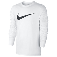 Nike LS Icon Swoosh T-Shirt - Men's - White / Black