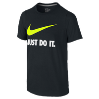 Nike JDI Swoosh S/S T-Shirt - Boys' Grade School - Black / White