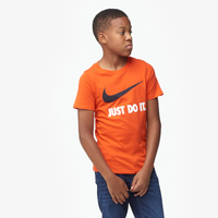 Nike JDI Swoosh S/S T-Shirt - Boys' Grade School - Orange / Navy