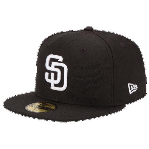 New Era MLB 59Fifty Black & White Basic Cap - Men's - San Diego Padres - Black / White