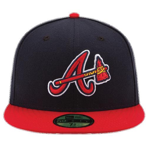 New Era MLB 59Fifty Authentic Cap - Men's - Atlanta Braves - Navy / Red
