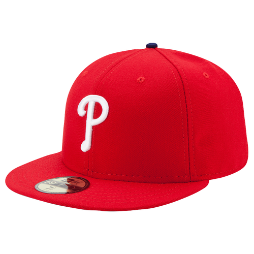 New Era MLB 59Fifty Authentic Cap - Men's - Philadelphia Phillies - Red / White