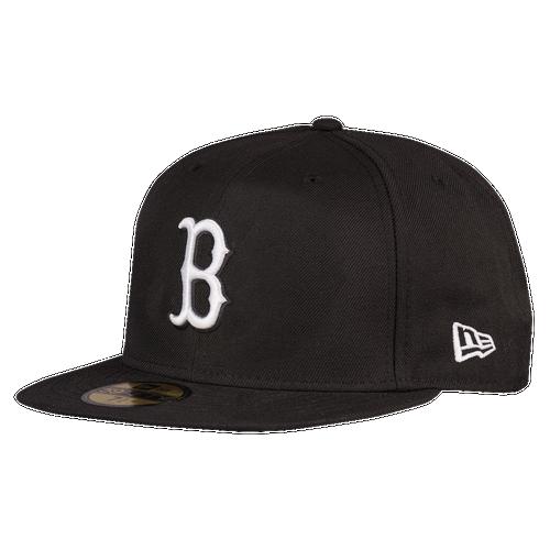 New Era MLB 59Fifty Black & White Basic Cap - Men's - Boston Red Sox - Black / White
