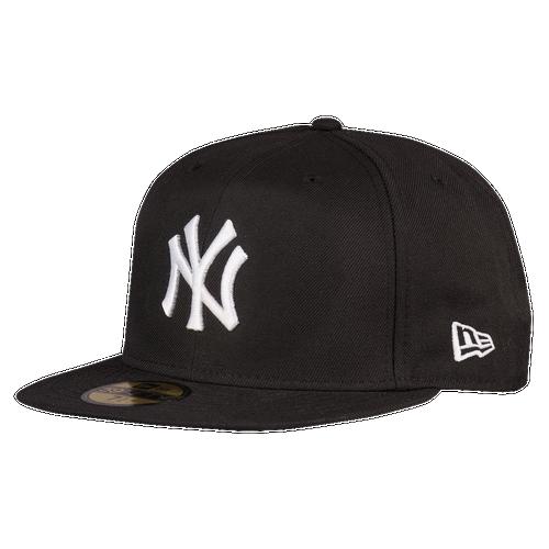 New Era MLB 59Fifty Black & White Basic Cap - Men's - New York Yankees - Black / White