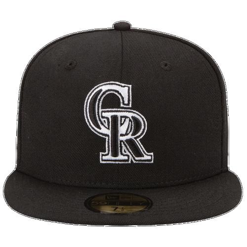 New Era MLB 59Fifty Black & White Basic Cap - Men's - Colorado Rockies - Black / White
