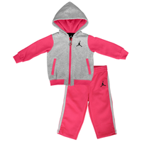 Jordan 2 Piece Fleece Set - Girls' Infant - Pink / Grey