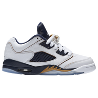 Jordan Retro 5 Low - Boys' Grade School - White / Gold
