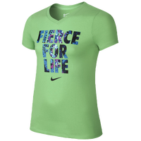 Nike Fierce For Life T-Shirt - Girls' Grade School - Light Green / Light Blue
