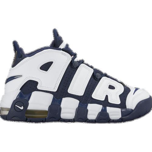 Nike Air More Uptempo - Boys\u0026#39; Grade School - Basketball - Shoes - White/Midnight Navy/Metallic Gold/University Red