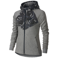 Nike Tech Fleece AOP Windrunner - Girls' Grade School - Grey / Grey