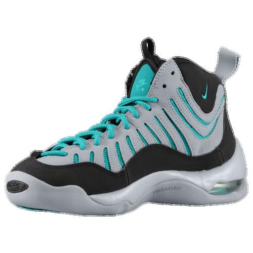 timeless design 30978 d91da Nike Air Bakin Boys Grade School Basketball Shoes Black Wolf Grey Turbo  Green