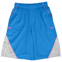 Nike LeBron 3 Mo Shorts - Boys' Grade School - Light Blue / Pink