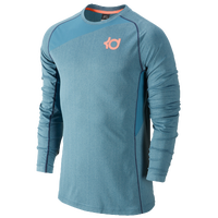Nike KD Fearless L/S Top - Men's -  Kevin Durant - Light Blue / Orange