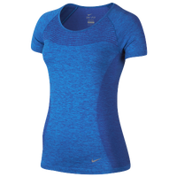 Nike Dri-FIT Knit Short Sleeve T-Shirt - Women's - Light Blue / Blue