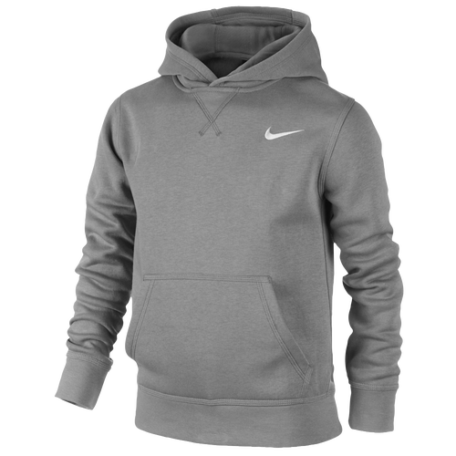 nike swoosh pull over hoodie boys 39 grade school casual clothing dark grey heather white. Black Bedroom Furniture Sets. Home Design Ideas