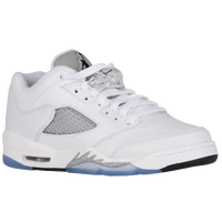 Jordan Retro 5 Low - Girls' Grade School - White / Grey