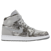Jordan AJ 1 High - Girls' Grade School - Grey / Silver