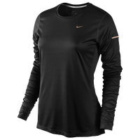 Nike Dri-FIT Miler Long Sleeve Top - Women's - All Black / Black