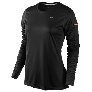 Nike Dri-FIT Miler Long Sleeve Top - Women's - Black/Reflective Silver