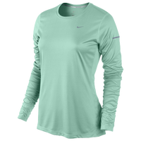 Nike Dri-FIT Miler Long Sleeve Top - Women's - Light Green / Light Green