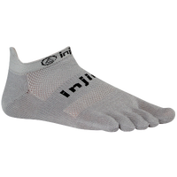 Injinji Original Weight No Show Toe Socks - Grey / Grey