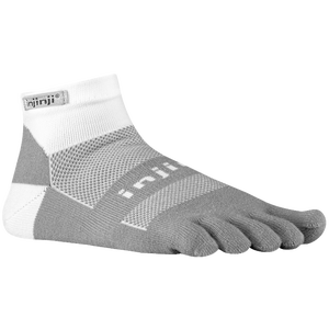 Injinji Midweight Mini-Crew Toe Socks - White/Grey