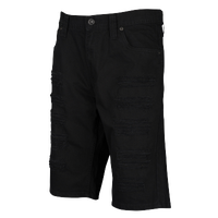 Southpole Ripped Twill Shorts - Men's - All Black / Black