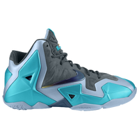 Nike LeBron XI - Boys' Grade School - Grey / Light Blue