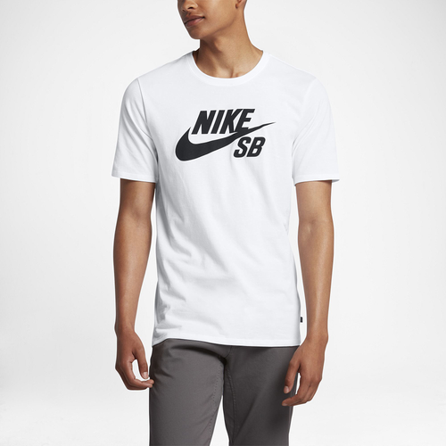 Nike SB Dri-FIT Short Sleeve Logo T-Shirt - Men's - White / Black