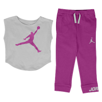 Jordan Jumbo Jumpman Legging Set - Girls' Toddler - Purple / Grey