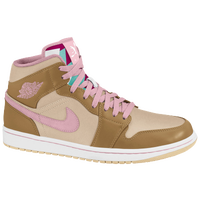 Jordan AJ 1 Mid - Girls' Grade School - Tan / Pink
