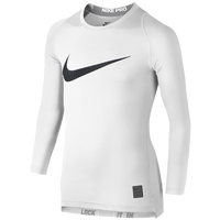 Nike Pro Cool Compression L/S Top - Boys' Grade School - White / Black