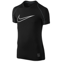 Nike Pro Hypercool FTD Compression S/S Top - Boys' Grade School - Black / White