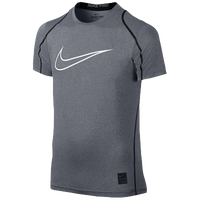 Nike Pro Hypercool FTD Compression S/S Top - Boys' Grade School - Grey / Black