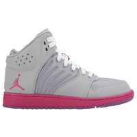 Jordan 1 Flight 4 - Girls' Grade School - Grey / Pink