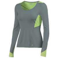 ASICS� Lite-Show Long Sleeve T-Shirts - Women's - Grey / Light Green